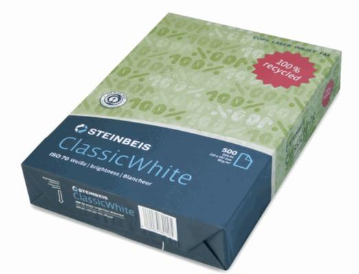 Steinbeis Classic Recycling 70° Weiße, A4, 80g 100.000 Blatt